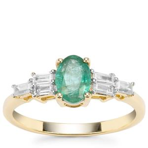 Zambian Emerald Ring with White Zircon in 9K Gold 1.16cts
