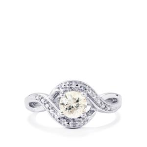 0.92ct Singida Tanzanian & White Zircon Sterling Silver Ring