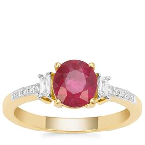 Nigerian Rubellite Ring with Diamond in 18K Gold 1.39cts