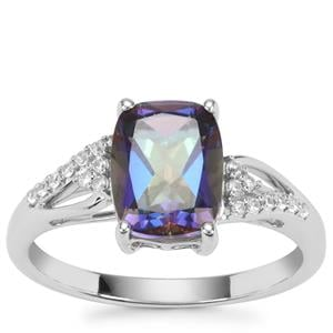 Mystic Blue Topaz Ring with White Zircon in Sterling Silver 2.66cts