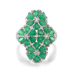 Carnaiba Brazilian Emerald Ring with White Topaz in Sterling Silver 3.49cts