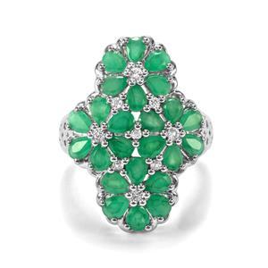 Carnaiba Brazilian Emerald & White Topaz Sterling Silver Ring ATGW 3.49cts
