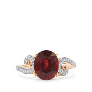 Malawi Garnet & Diamond 18K Gold Tomas Rae Ring MTGW 3.88cts
