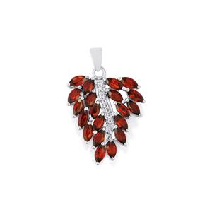 Mozambique Garnet Pendant with White Topaz in Sterling Silver 5.97cts