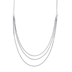 "18"" Sterling Silver Diamond Cut Spiga Graduate Necklace 7.86g"
