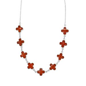 Carnelian Necklace in Sterling Silver 40.52cts