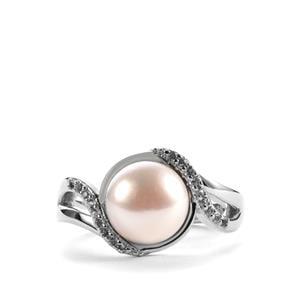 Kaori Cultured Pearl & White Topaz Sterling Silver Ring (8.5mm)