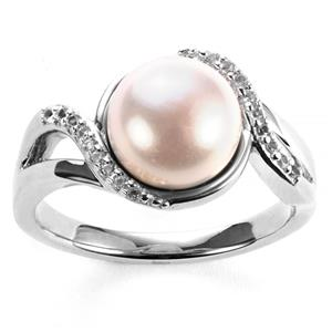 Kaori Cultured Pearl Ring with White Topaz in Sterling Silver (8.5mm)