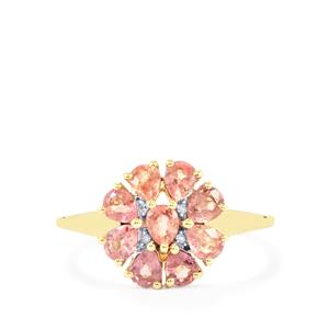 Padparadscha Sapphire Ring with Diamond in 9K Gold 1.45cts