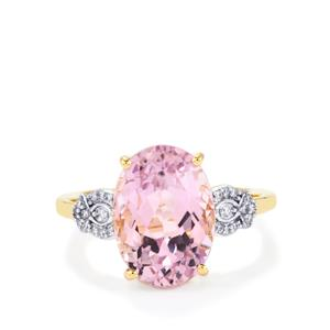 Mawi Kunzite Ring with Diamond in 18K Gold 8.23cts