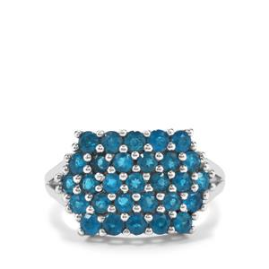 Neon Apatite Ring in Platinum Plated Sterling Silver 1.51cts