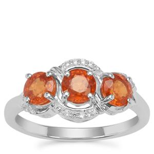 Mandarin Garnet Ring with White Zircon in Sterling Silver 2cts