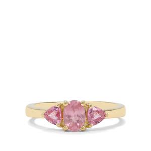 Pink Spinel & Sakaraha Pink Sapphire 9K Gold Ring ATGW 1.20cts
