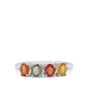 Songea Rainbow Sapphire Ring in Sterling Silver 1.27cts