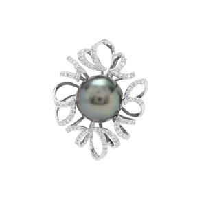 Tahitian Cultured Pearl & Diamond 18K White Gold Pendant (11x12mm)