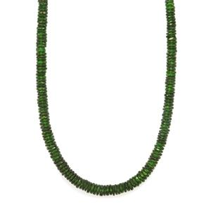 Chrome Diopside Bead Necklace with Magnetic Lock in Sterling Silver 139cts