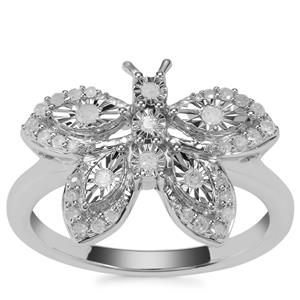 Diamond Butterfly Ring in Sterling Silver 0.25ct