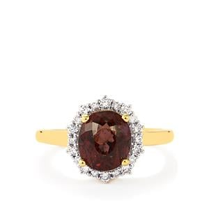 Color Change Garnet Ring with Diamond in 18k Gold 4.10cts