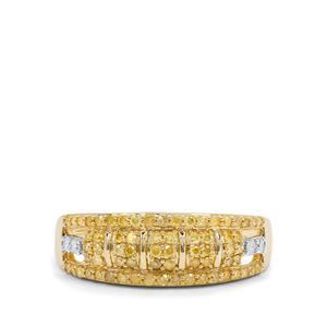 1/2ct Natural Yellow & White Diamond 9K Gold Ring