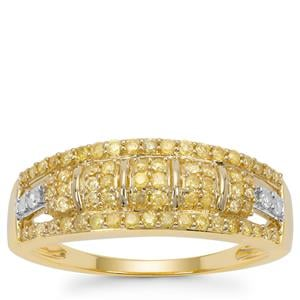 Natural Yellow Diamond Ring with White Diamond in 9K Gold 0.52ct