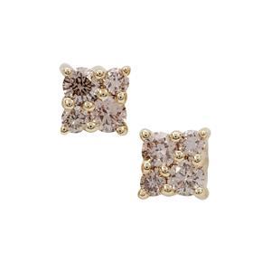 1/4ct Champagne Argyle Diamond 9K Gold Earrings
