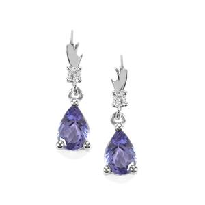 Tanzanite Earrings with White Topaz in Sterling Silver 1.21cts