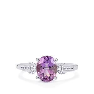 Moroccan Amethyst & White Topaz Sterling Silver Ring ATGW 1.82cts