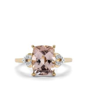 Alto Ligonha Morganite Ring with Diamond in 10K Gold 2.59cts