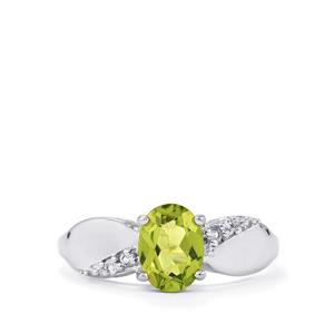 Changbai Peridot Ring with White Topaz in Sterling Silver 1.36cts