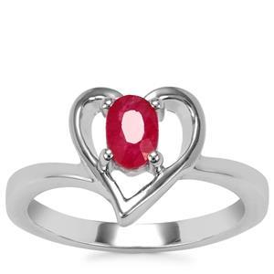 Burmese Ruby Ring in Sterling Silver 0.53ct