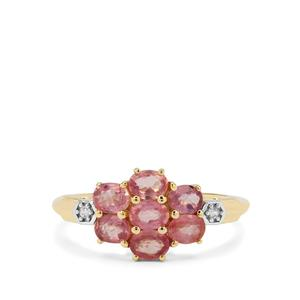 Padparadscha Sapphire Ring with White Zircon in 9K Gold 1.70cts