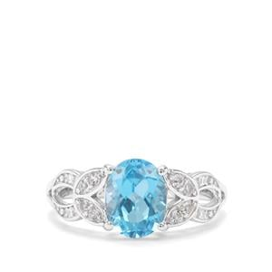 Swiss Blue, Sky Blue Topaz & White Zircon Sterling Silver Ring ATGW 2.44cts