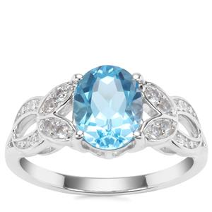 Swiss Blue, Sky Blue Topaz Ring with White Zircon in Sterling Silver 2.44cts