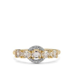 Ceylon White Sapphire Ring 9K Gold 1.22cts