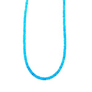 Neon Apatite Bead Necklace  in Sterling Silver 45.50cts