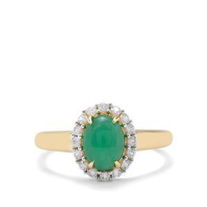 Itabira Emerald & White Zircon 9K Gold Ring ATGW 1.70cts