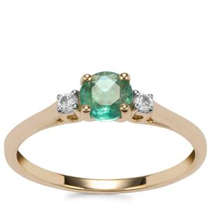 Zambian Emerald Ring with White Zircon in 9K Gold 0.60ct
