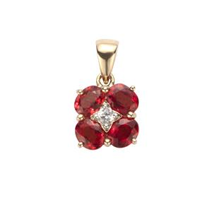 Winza Ruby Pendant with White Zircon in 9K Gold 1.77cts