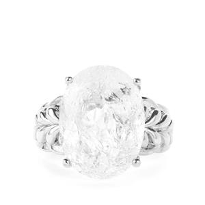 9.50cts White Crackled Quartz Sterling Silver Ring