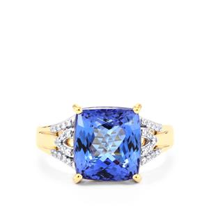 AA Tanzanite Ring with Diamond in 18k Gold 7.16cts