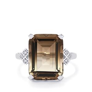 Bi-Colour Smokey Quartz Ring with White Topaz in Sterling Silver 11.24cts