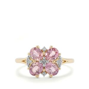 Sakaraha Pink Sapphire Ring with Diamond in 9K Gold 1.88cts