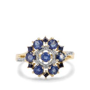 Sant , Ceylon Blue Sapphire & White Zircon 9K Gold Ring ATGW 1.73cts