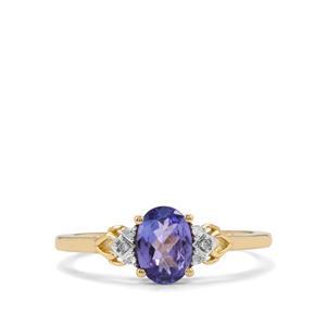 AA Tanzanite & Diamond 9K Gold Ring ATGW 0.77cts