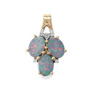 Crystal Opal on Ironstone Pendant with Diamond in 9K Gold