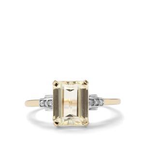 Canary Kunzite & Diamond 10K Gold Ring ATGW 2.73cts