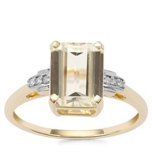 Canary Kunzite Ring with Diamond in 9K Gold 2.73cts