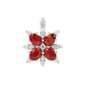Songea Ruby Pendant with White Zircon in 9K Gold 1.10cts