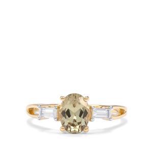 Csarite® & White Zircon 9K Gold Ring ATGW 1.67cts
