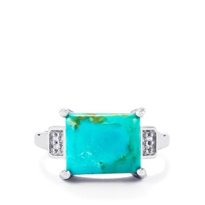 Cochise Turquoise Ring with Diamond in Sterling Silver 4.60cts